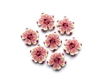 "Flower BUTTONS 10/16"" - 16mm - Set of 7 pink white buttons, DIY supply set - handmade polymer clay artisan suppplies - boutons fimo"
