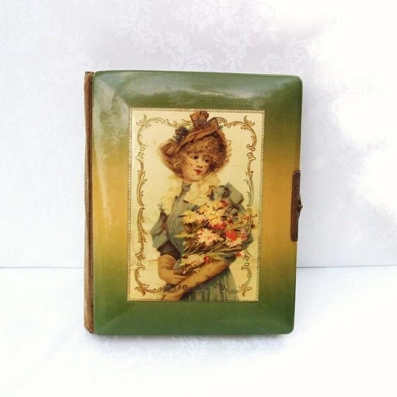 Antique Victorian Lithograph Photo Album Art Nouveau Gibson Girl Celluloid Book Green Yellow Red