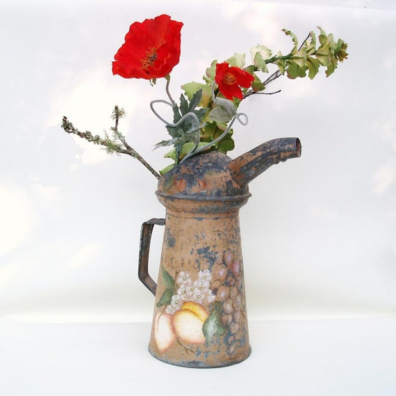 Garden Watering Can Old Oil Can Industrial Chic Metal Container Peach Decor Pear Art