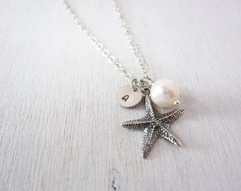 Personalized Sterling Silver Starfish Necklace, Freshwater Pearl, Sterling Silver Chain, Monogram Gift, Gift Under 40