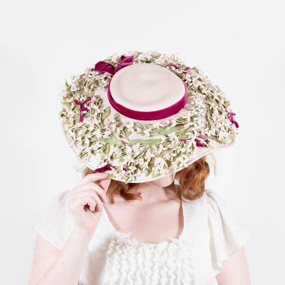 vintage 1940s hat / wide brim hat / Adele Claire