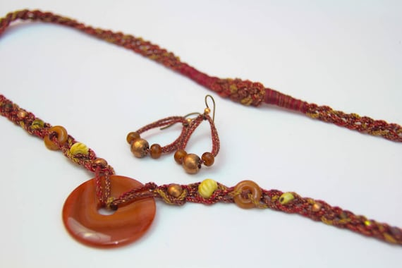 SALE - Beaded Fiber Earrings in copper and rusty reds (BE-45-2).