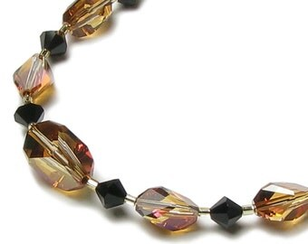 Crystal Copper & Jet Black Swarovski Crystal 14k Gold Filled Necklace Jungle Tiger Stripe Wild Animal Inspired Date Night Glamour Jewelry