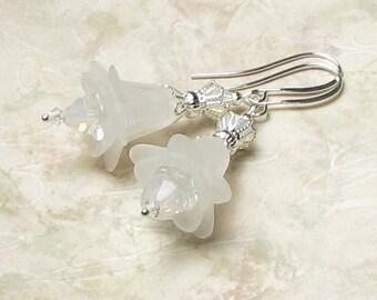 White Flower Opal Swarovski Crystal Silver Dangle Earrings, Romantic Summer Beach Wedding White Floral Earrings, Classic Bridal Jewelry Gift