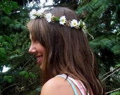 Hippie Daisy chain - Jenny - dried Flower Crown silk white daisies Bridal party accessories hair wreath headband Boho halo wedding costume