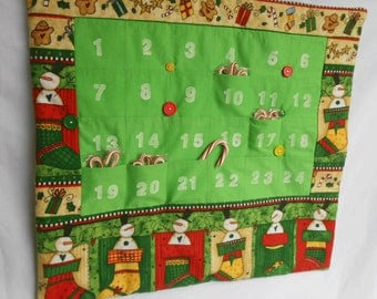 Christmas Advent Calendar in Bright Snowman Print/ Christmas Countdown Calendar with Pockets