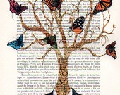 Drawing Illustration Giclee Prints Posters Mixed Media Art Acrylic Painting Holiday Decor Gifts: Monsieur Tree