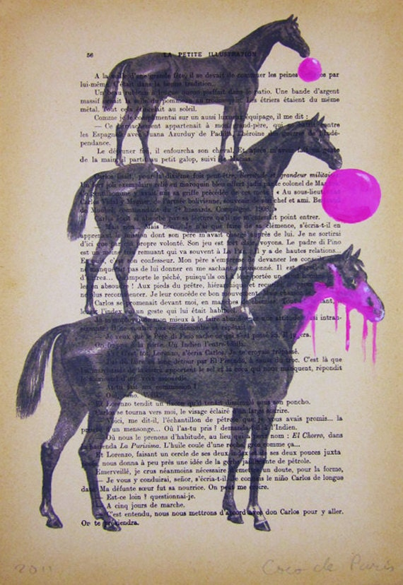 3 horses with bubblegum - Original Illustration-Art Print-Art Poster- Hand Painting Mixed Media- Acrylic paintings-Vintage posters-Folk