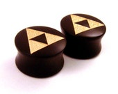 """Tri Force Ebony Wooden Plugs with Gold Enamel - PAIR - 2g (6.5mm) through 1 1/2"""" (38mm) including 30mm 1 1/4"""" 32mm Triforce Wood Ear Gauges"""
