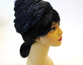 Vintage Hat, 50s Net Hat, Straw Hat