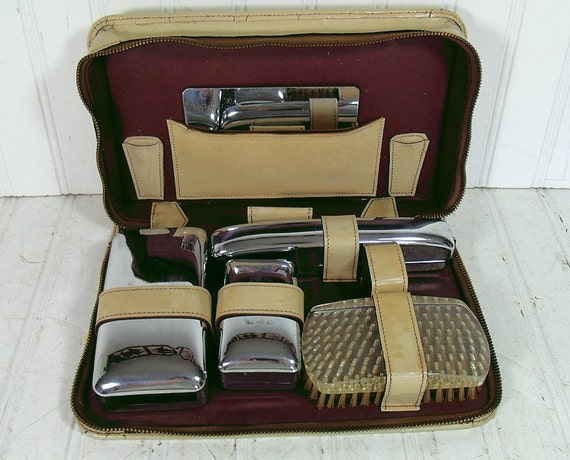 Vintage Leather & Chrome Metal Grooming Set - Retro Collection of Mid Century Travel Items - Ultra Shabby Chic Rescue