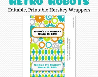 Retro Robots Candy Bar Wrapper, Candy Bar Label, Birthday Party Favor, Boy Baby Shower Favor, Chocolate Bar  -- Editable, Printable, Instant