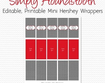 Mini Candy Bar Wrapper, Black and White, Red, Houndstooth Birthday Party Favor, Bridal Shower Candy Label -- Editable, Printable, Instant