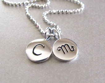 Silver Initial & Zodiac Charm Necklace - Personalized