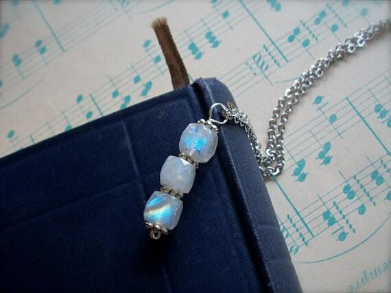 Ice Cubed - faceted rainbow moonstone three-stone pendant
