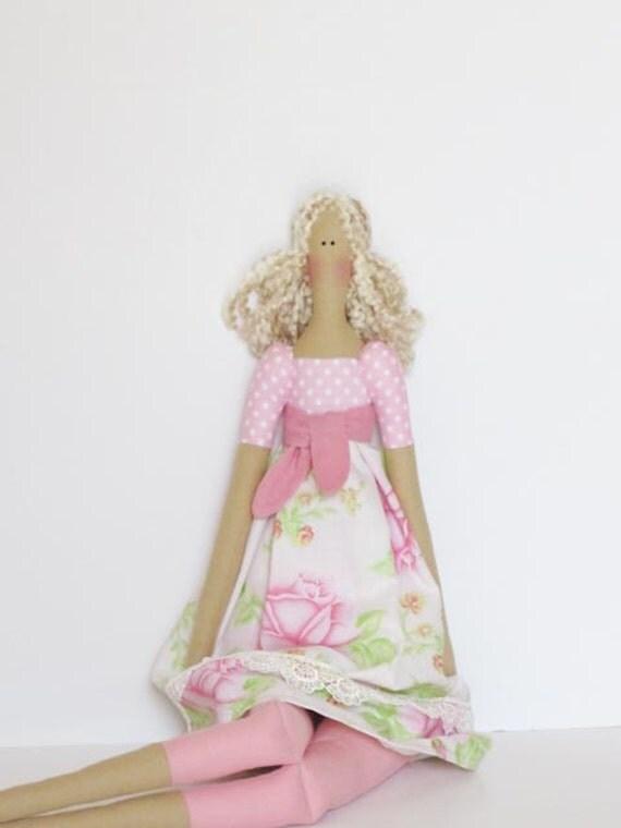 Pretty fabric doll in polka dot pink rose dress- blonde cloth doll,art doll cute stuffed doll, rag doll - gift for girl and mom