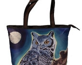 Owl Large Handbag by Salvador Kitti - Support Wildlife Conservation - Read How - From My Original Painting, The Wise One