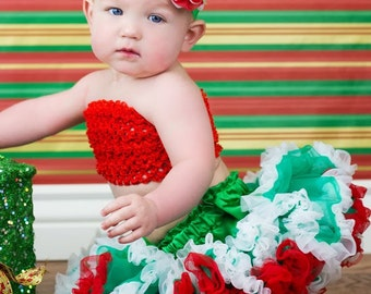 Christmas Pettiskirt and Headband Set Red Green White Costume Dress Up Newborn Photo Prop Sizes Newborn-24 Months