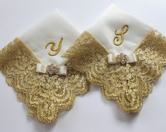 Mother of the Bride and Groom Wedding Handkerchief Gift Set, Monogrammed Gift, Personalized Mother Gift, Two Gold Lace Couture Satin Hankies
