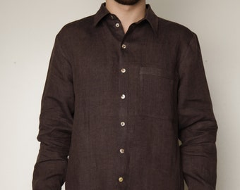 Pure Linen Classical Shirt For Men