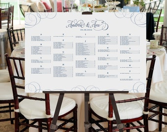Seating Chart Poster, Wedding, Reception, Event, Printable, Calligraphy, Table Assignment