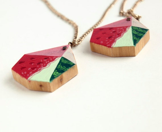 Watermelon. geometric necklace. polygon geometric pendant. red pink green. modern hand painted wooden jewelry.