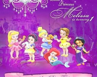 Disney Baby Princess- Personalized Digital Invitation- With option to add Child's Pic- Aurora, Snow White, Cinderella, Ariel, Belle, Jasmine