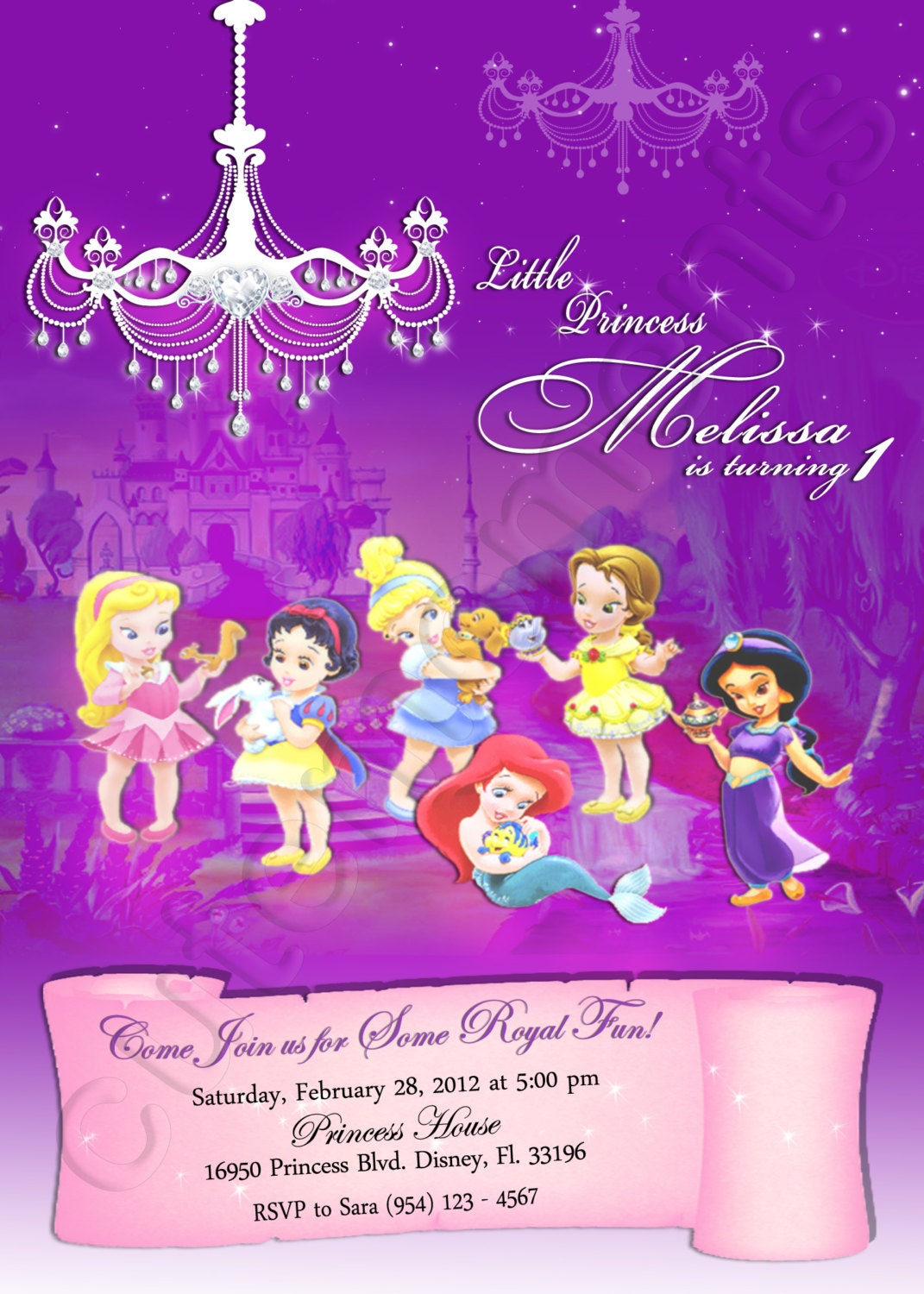Disney Baby Princess Personalized Digital Invitation With