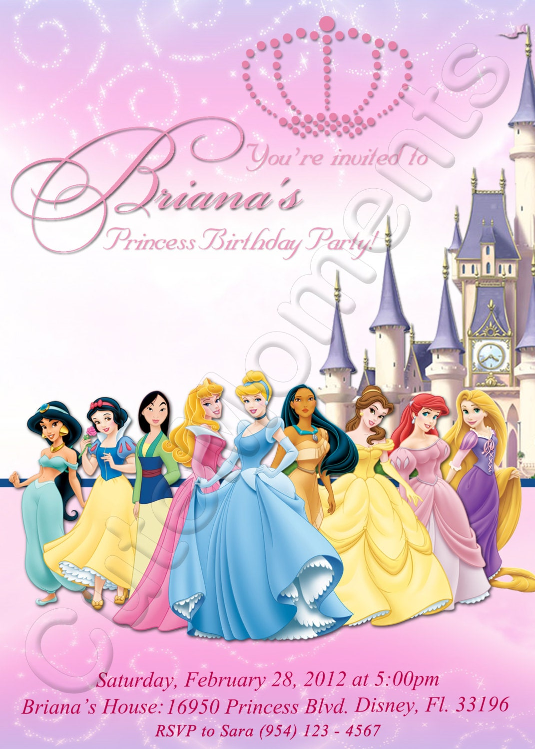 disney princess birthday party invitations free printables Jose