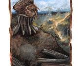 Kiwi Bird Art Print, Five of Pentacles Tarot Card, 8x10 Wall Art, Forest Fire Picture, Depression, Forest Animal Print,  Animism Tarot Deck