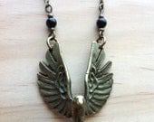 Flying Phoenix with Obsidian Necklace