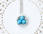 turquoise wire wrapped bird nest necklace