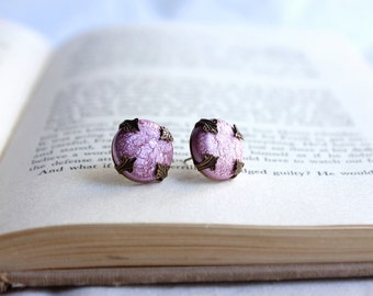 Romantic Pink Post Earrings Sparkly Foiled Studs SALE