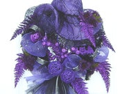 Halloween Wreath Witches Hat Purple and Black