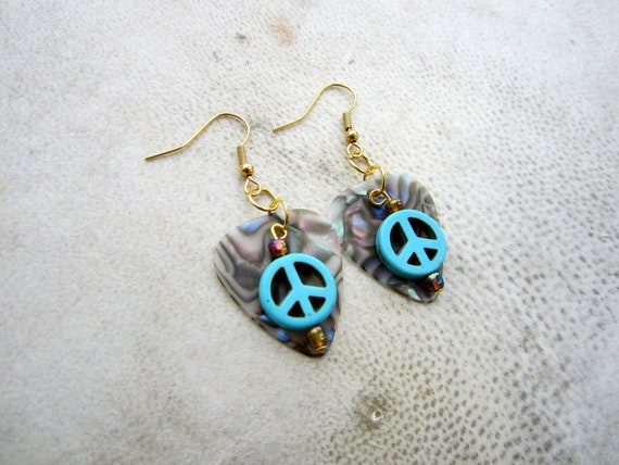 Turquoise Peace Sign Guitar Pick Earrings. Hippie, Boho.