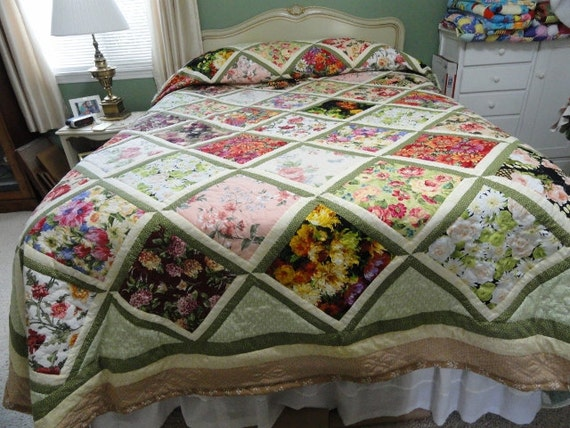 King size hand quilted floral quilt