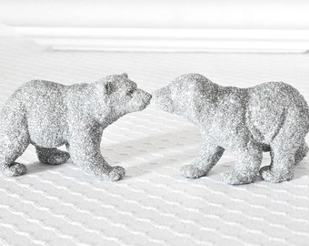 Baby Polar Bear Cubs Silver Glittered Wedding Cake Topper Table Decoration Entertaining Tablescapes Baby Bridal Shower Centerpiece. Set of 2