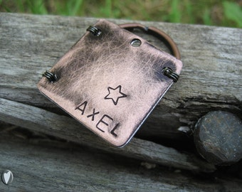 Copper Personalized Pet Id Tag - Hand Stamped - Unique Pet Tag - Wire Wrap - Aluminum Backer