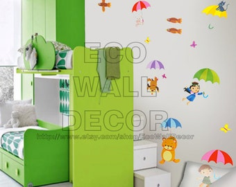 PEEL and STICK Removable Vinyl Wall Sticker Mural Decal Art - Kids with Umbrellas