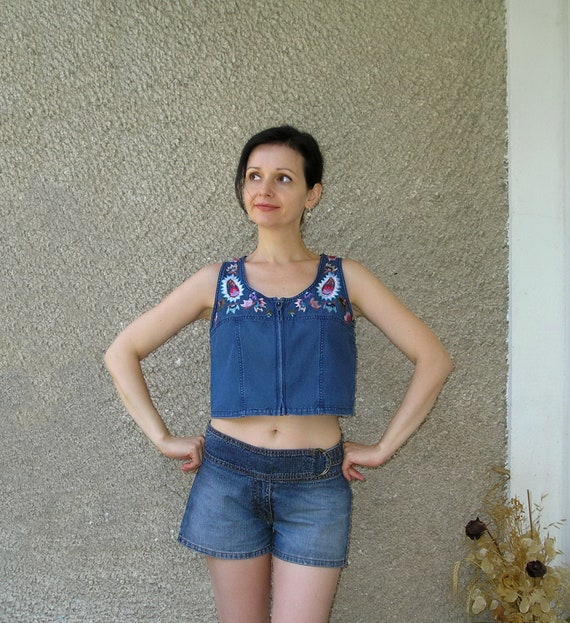 Vintage 80s embroidered blue denim zipper top, size S-M