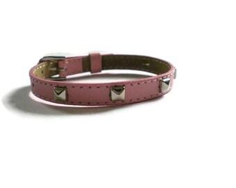Pink Studded Leather Buckle Bracelet Wristband Strap - 8mm Pink Leather Wristband  Strap -  Adjustable Layering bracelet