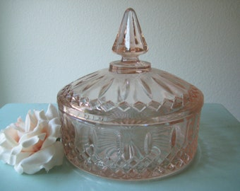 Pink Depression Glass Candy Dish / Vintage Pink Glass / Pink Trinket Dish with Lid / Christmas Gift