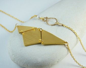 Geometric gold necklace triangle necklace