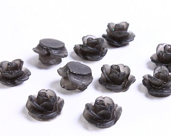 10mm Black frosted rose cabochons - 10mm flower cabochon - 3D cabochons (728) - Flat rate shipping