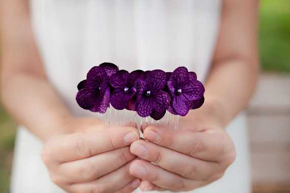 Purple Flower Hydrangea Hair Comb Flower Hairpiece Wedding Woodland Bridesmaids Floral Comb Hair Accessory