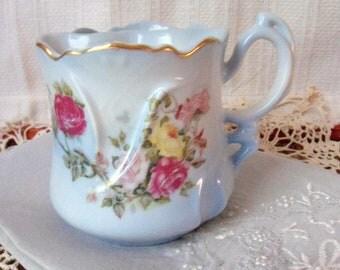 Powder Blue Brandenburg Mustache Mug, Rose Lather Bowl