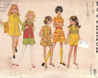 Girls Mini Dress & Vest Pattern Butterick 5623 Size 10