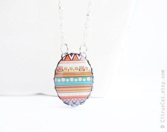 Tribal jewelry necklace, native jewelry, geometric necklace, geek jewelry, colorful necklace, oval necklace, abstract necklace, ethnic