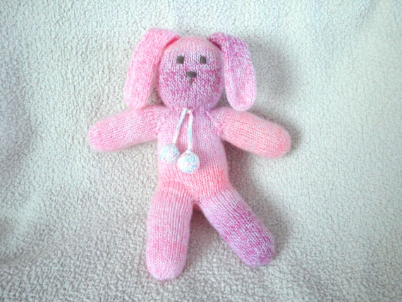 Pink Knit Bunny Rabbit, Floppy, Soft Plush Waldorf Toy, Lovey/Security, Baby Girls Toddler