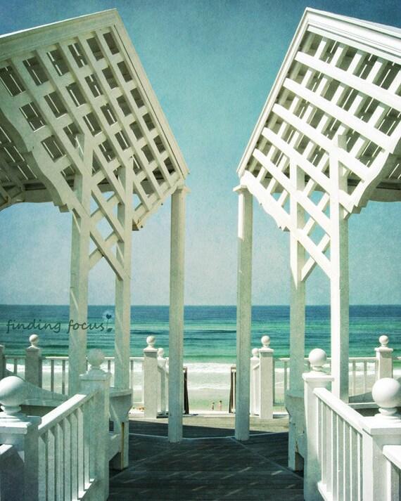 Seaside Path Beach Photography, Retro Coastal Photo, Aqua Blue Mint White, Florida Gulf Coast 30A Cottage Style Vintage Beachy Sea Art Print